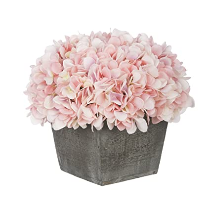 Amazon house of silk flowers artificial hydrangea in grey house of silk flowers artificial hydrangea in grey washed wood cube baby pink mightylinksfo