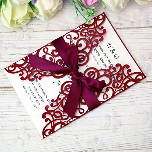 Red Pocket Invitation - PONATIA 25PCS Laser Cut Hollow rose with drill Invitation Card Wedding Bridal Shower Engagement Birthday Graduation Invitation Cards (Red)