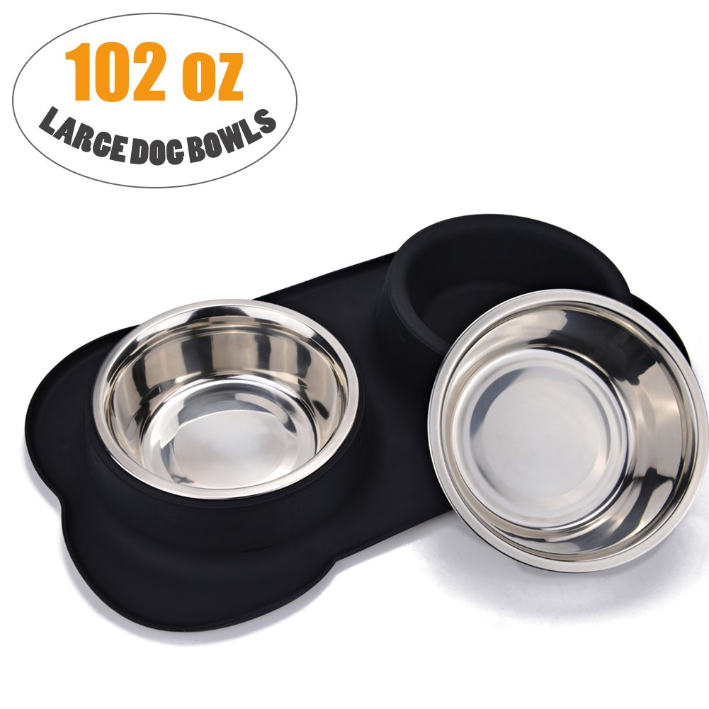 Large Dog Bowl, JISIMI Two 2 x 51 Ounce Stainless Steel Dog Bowls Pet Bowl Feeding Station with Anti-Spill Non-Skid Bone Shape Silicone Mat for Medium to Large Dogs