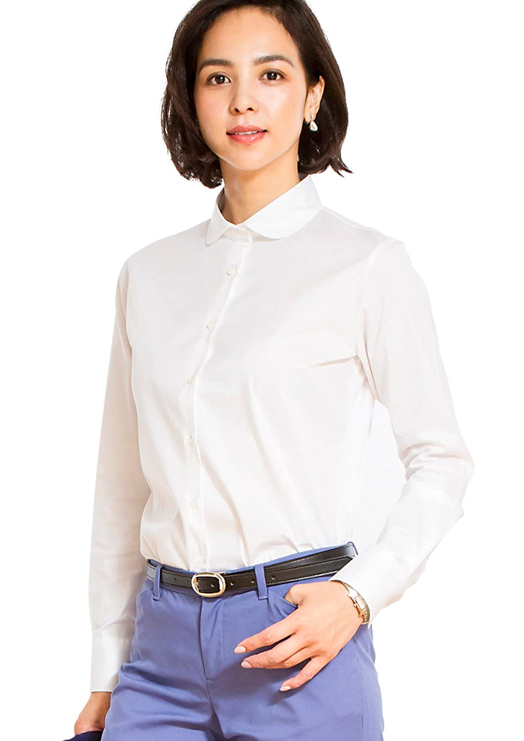 LEONIS Women's Premium Stretch & Easy Care Rounded-point Long Sleeve Shirt