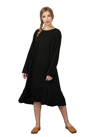 Grace Women S Linen Cotton Soft Long Loose Barrel Skirt Dress