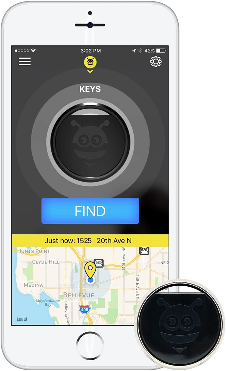 Pebblebee Key Finder Phone Finder Bluetooth Tracker with Replaceable Battery, 200 Feet Range, Amazon Alexa Integrated Skill, Stainless Steel, LED Light, Key Ring Included, Silver Platinum