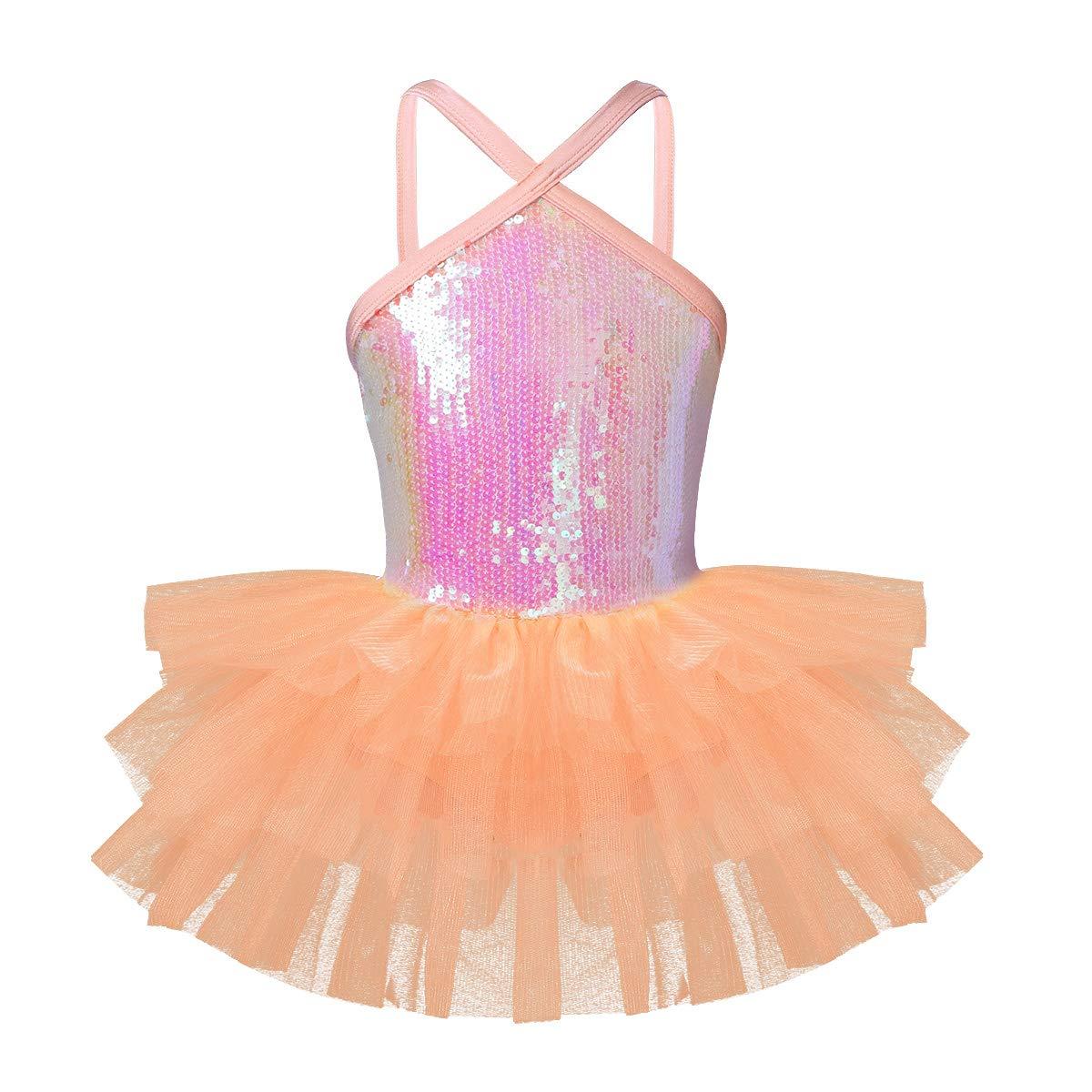 Cutout orange FEESHOW Girls' Sequined Camisole Leotard Dress Ballet Tutu Skirt Dance Costumes