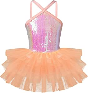 TiaoBug Girls' Sleeveless Halter Sequin Pleated Skirt Ballet Dress Dance Gymnastics Leotard Tutu Dress Costume