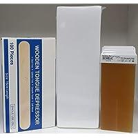 Honey Wax Tube 100 ml (3) pieces-Wax Strips 100 pieces-Wax spatula 100Pieces