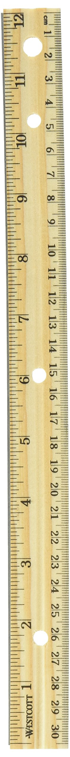 Westcott Hole Punched Wood Ruler English and Metric With Metal Edge, 12 Inches, 2 Packs