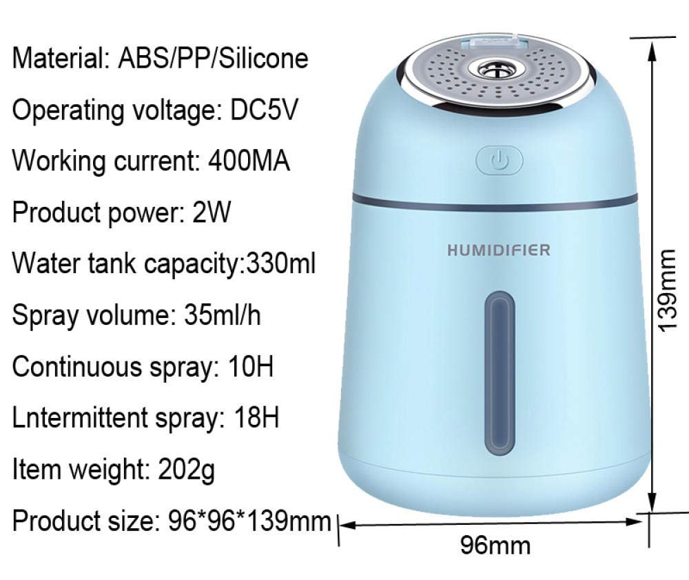 QSAC 330ml Essential Oil Diffuser ultrasonic humidifier humidifier Mini USB Mute Bedroom Home Office air Hydrating Sprayer-Blue by QSAC (Image #6)