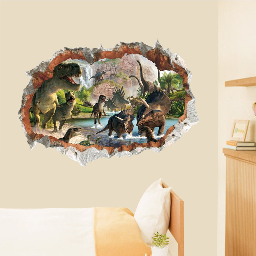 MLM 3D Dinosaurs Simulation Crack Hole Stickers Self-adhesive Peel and Stick Wall Decal Mural Living Room Bedroom Kids' Room Nursery Decor Playroom Decor by MLM (Image #5)