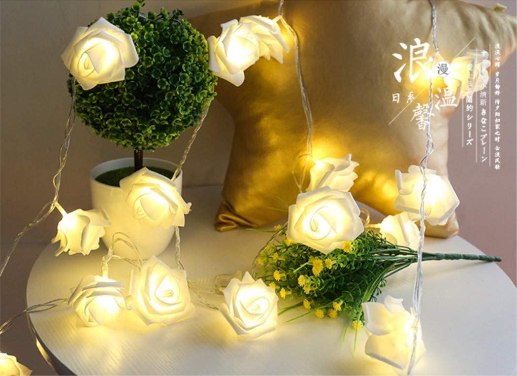 6.6 Foot 20LED, White Rose Red LED Fantasee LED Rose Flower String Lights Battery Operated for Wedding Home Party Birthday Festival Indoor Outdoor Decorations