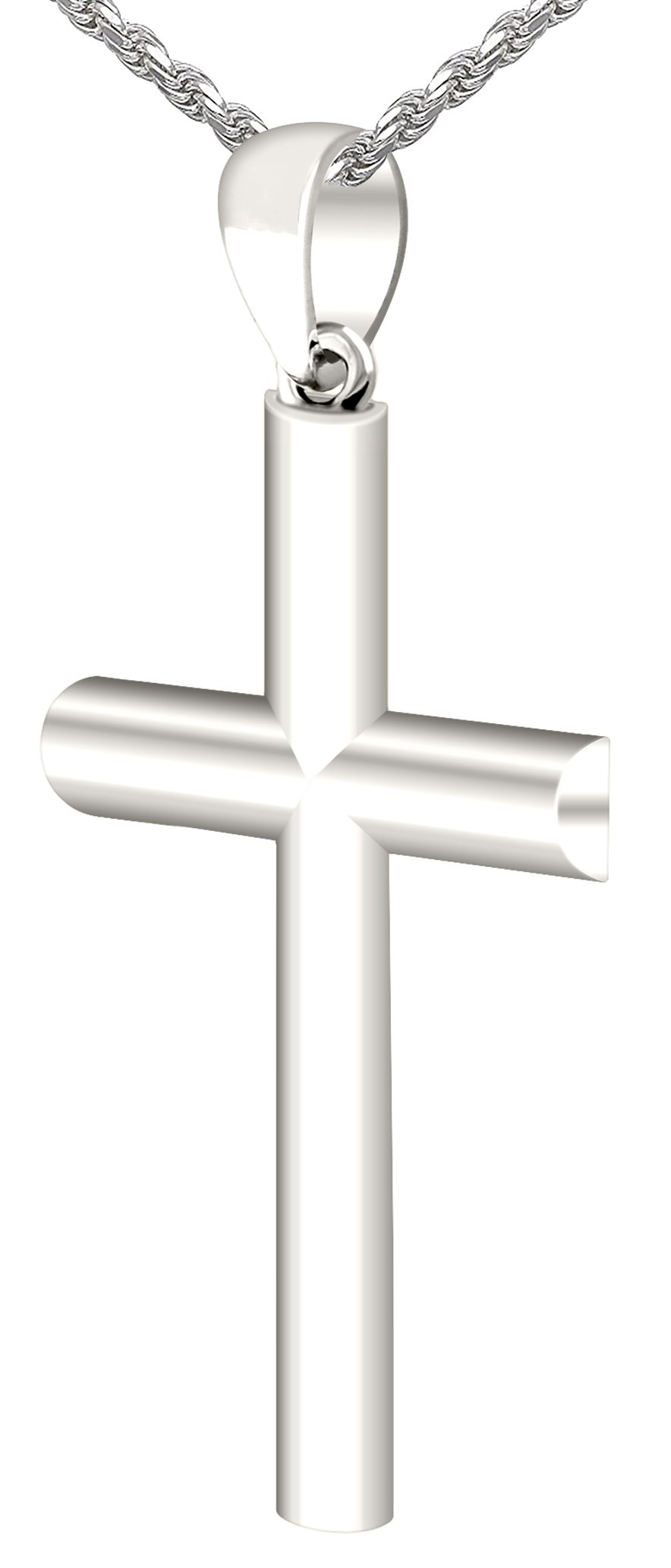 Men's 1.375in Solid 0.925 Sterling Silver Christian Cross Pendant 3.0mm Curb Necklace, 24''