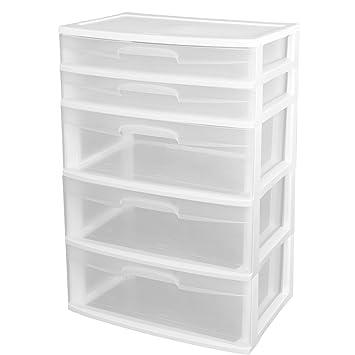 Amazon.com: Sterilite 5 Drawer Wide Tower Plastic Storage Cabinet ...