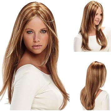 Amazon.com   Morningsilkwig Long hair Caps Women straight hair wig Middle  Part Synthetic Hair Sets (Gold)   Beauty 4e20aa80f