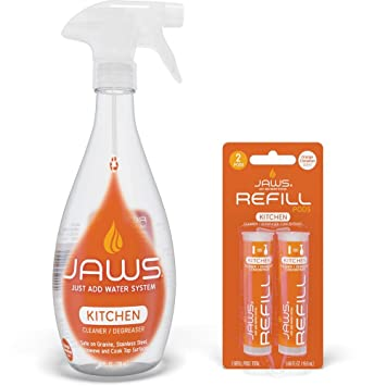 JAWS Kitchen Cleaner Degreaser Bottle With 2 Refill Pods. Non Toxic And Eco