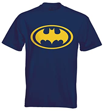 Duck Ink Mens Classic Batman Symbol Unofficial T Shirt Navy Blue