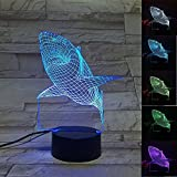 3D Shark LED Night Light Multi 7 Color changing Touch Switch Optical table lamp USB Powered for Home Room Bar Party Festival Decor Kids Birthday Creative Gifts Toys