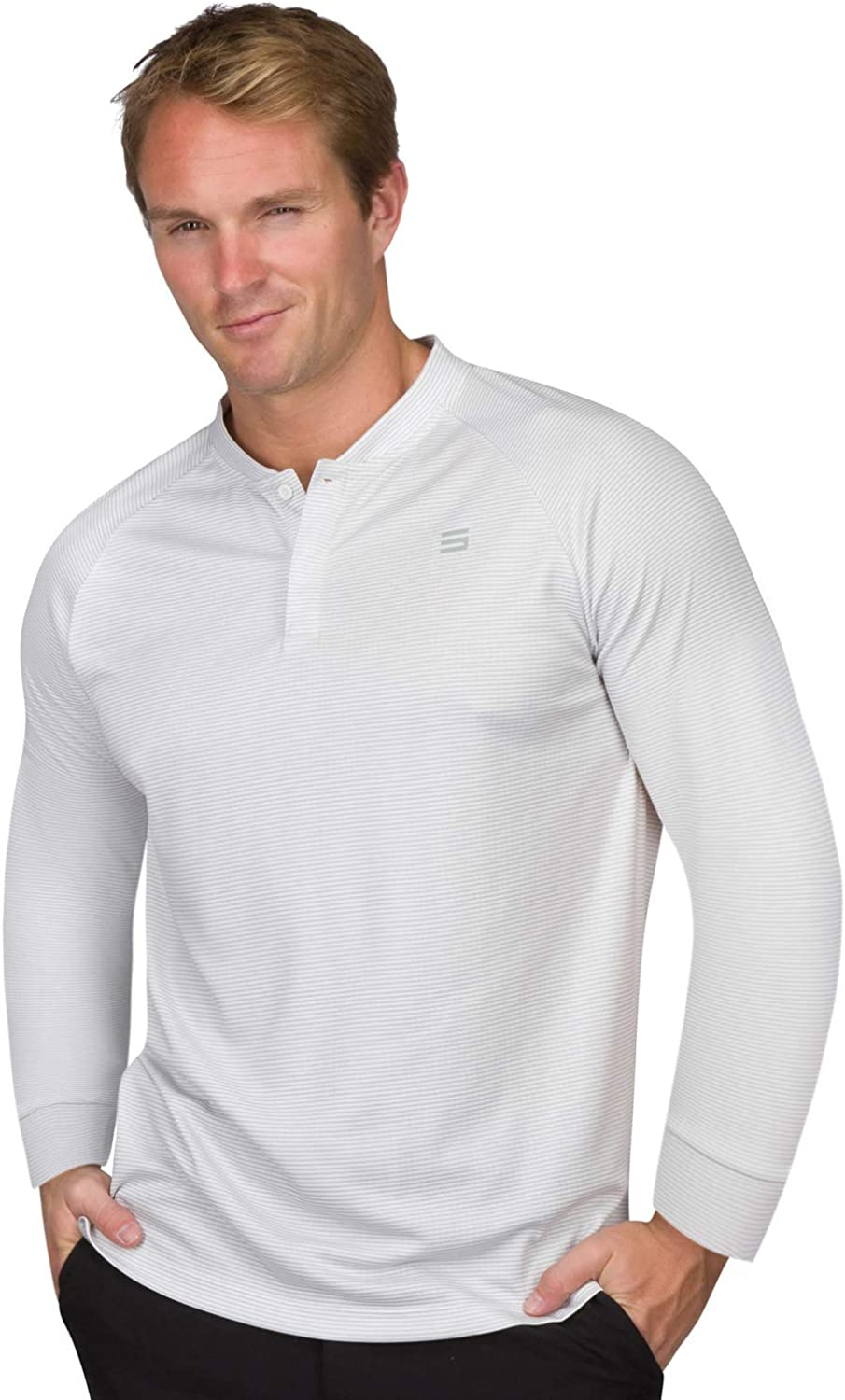 Dry Fit Long Sleeve Collarless Golf Shirts for Men - 4 Way Stretch and Moisture Wicking Golf Polo