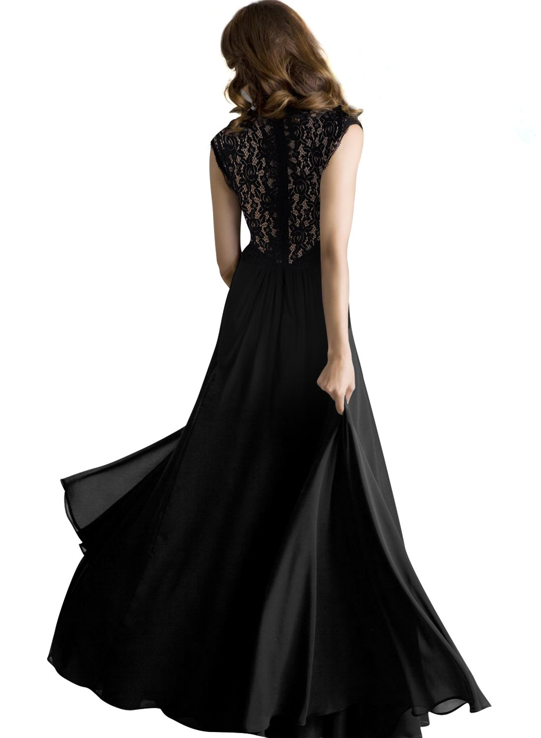 Shengdilu Women's Ball Gown Prom Maxi Long Evening Formal Party Wedding Bridesmaid Dress S Black by Shengdilu (Image #2)