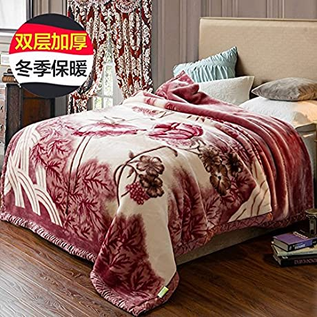 Znzbzt Happy Thick Blanket Utility Flowers Gifts And Winter Blanket Blanket Coral Fleece Blanket Festive Double Sided 200x230cm Double Thick 7 Young Love