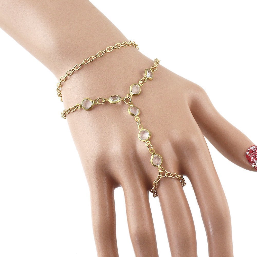 Feelontop® Charming Rhinestone Gold Plated Chain Bracelet with Ring with Free Jewelry Pouch BR-5251-gold