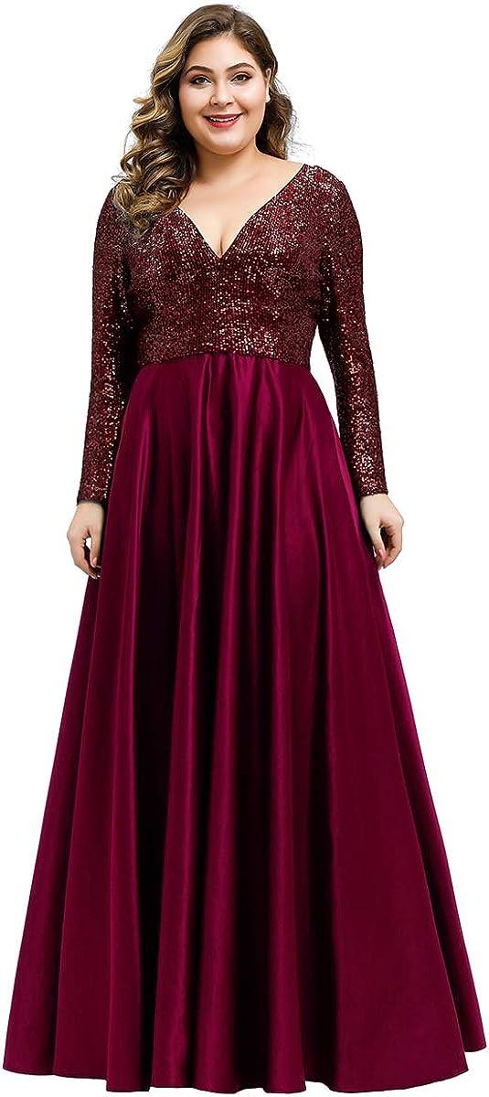 Ever-Pretty Abiti da Cerimonia Taglie Forti Elegante Scollo a V Manica Lunga Stile Impero Donna 00817
