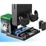 ElecGear Xbox One Vertical Charging Stand with Cooling Fan, 2X 1200mAh Rechargeable Battery Pack for Controller, Games…