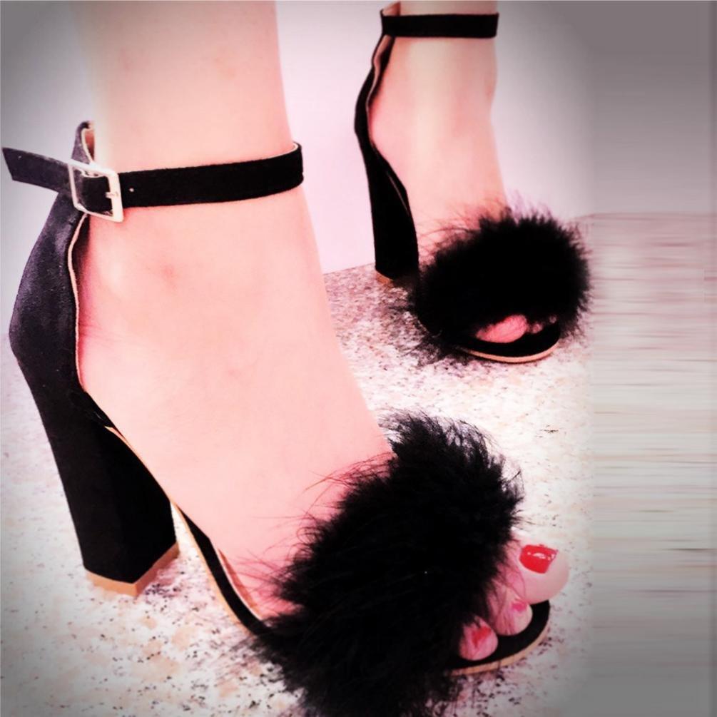 c2701c6bca4df Amazon.com: Ecurson Womens Ladies Chunky Heels High Heel Sandals ...