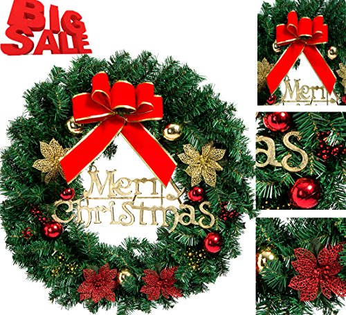 Christmas Wreath Poinsettia Pine Needles Bowknot Artificial Christmas Garland Door Wreath Wall Garland Christmas Decorations for Xmas Holiday Outdoor Indoor Party New Year (Red, - Wreath New Years
