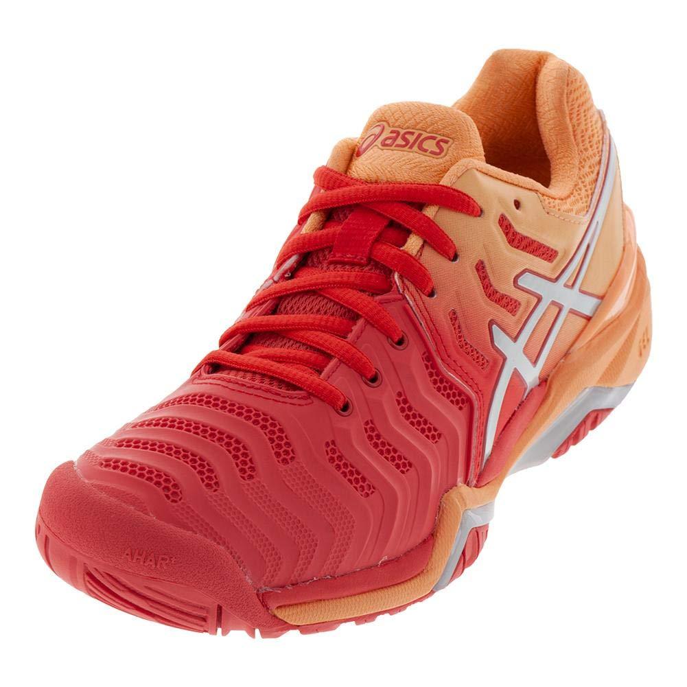 ASICS Womens Gel-Resolution 7 Tennis Shoe, Red Alert/Silver, Size 5.5