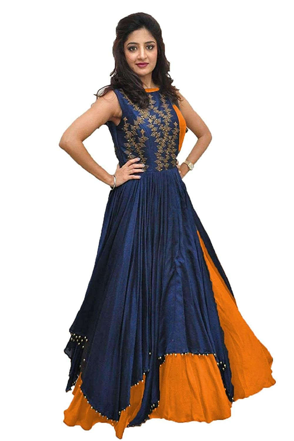 64abdaabdbc Drashti villa Women s Banglory Silk Embroidered Gown with Jacket (Free Size)   Amazon.in  Clothing   Accessories