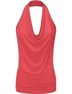 2002d01e190dde Doublju Womens Sleeveless Sexy Halter Drape Cowl Neck Top with Plus Size