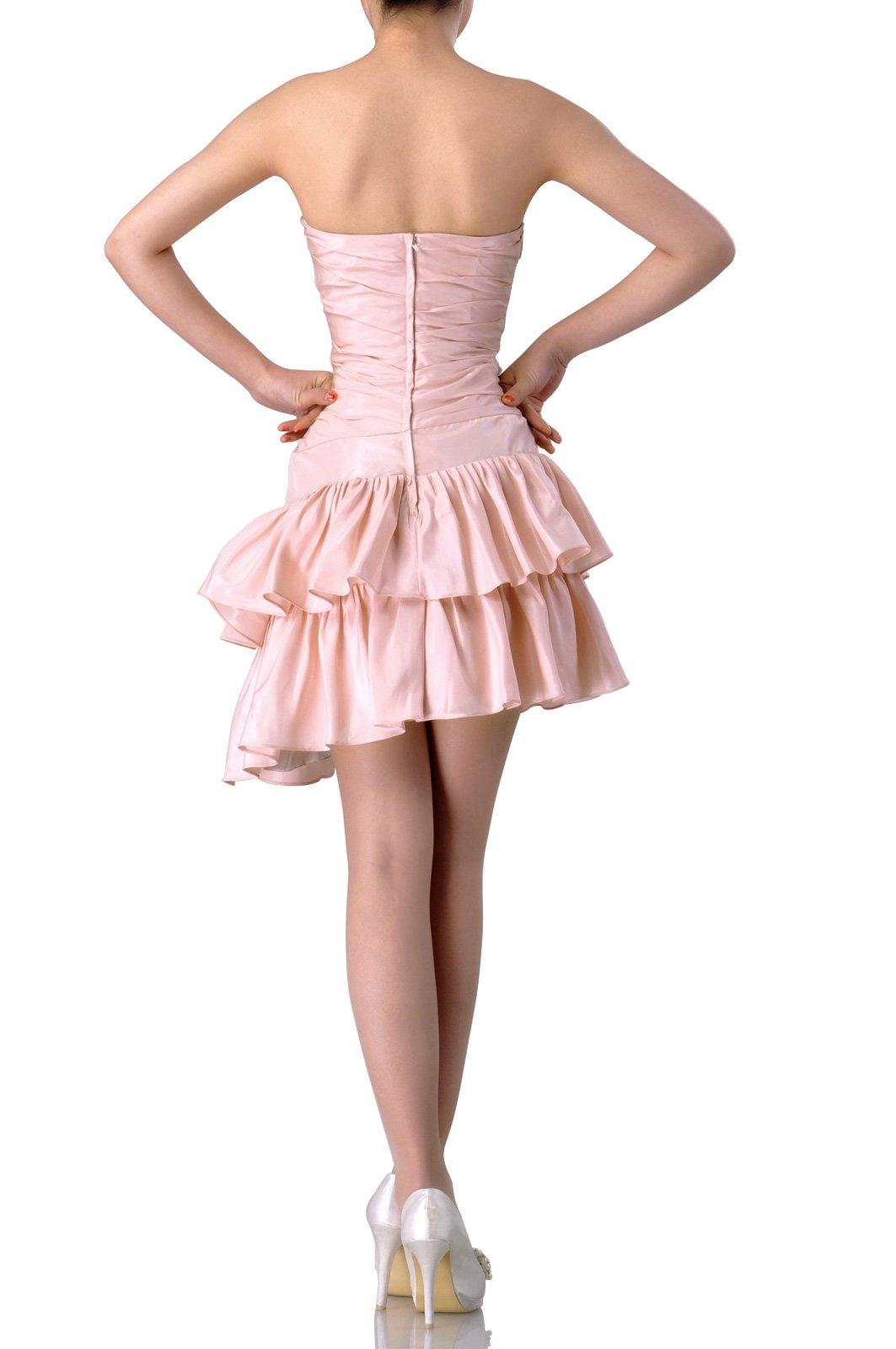 Taffeta Natrual Bateau Short Strapless Homecoming Modest Bridesmaid Dress Short, Color White,14 by Adorona (Image #3)