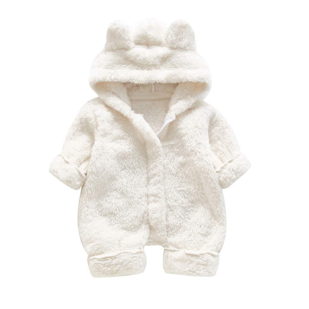 Gallity Newborn Baby Snowsuit 0-24 Months Infant Boy Girls Cartoon Bear Ear Hoodie Romper Winter Fleece Warm Jumpsuit (18-24 Months, White) by Gallity Baby Coat