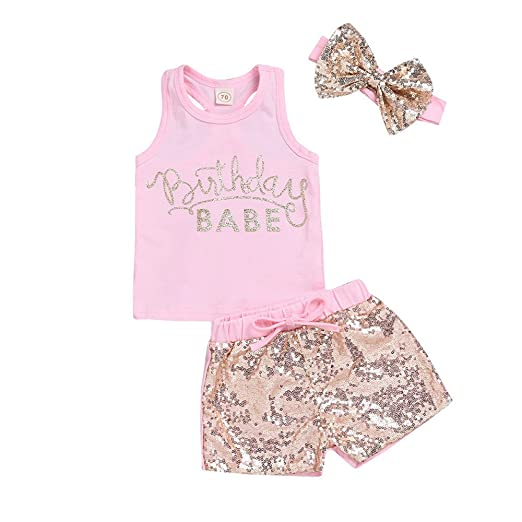 ba38bbb75cab7 Amazon.com: Euone for 0-2 Years Old Girls Vest Tops Birthday Babe T ...