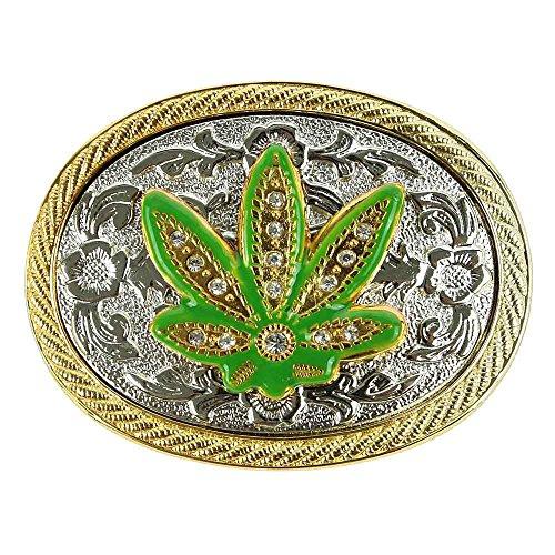 Handmade Buckle (NPET Wild Marijuana Weed Leaf Rhinestone Belt Buckle)