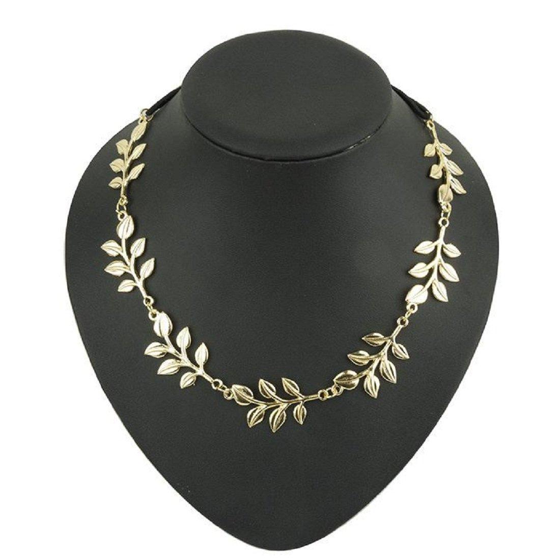 Kaamastra Women's Leaf Olive Elastic Head Band Hair Barrette Gold Q2YLE008