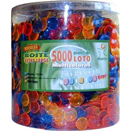 Boite/sachet de 5000 pions plastique transparents multicolores