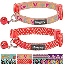 """Blueberry Pet Pack of 2 Cat Collars, Love Peace Theme and Salmon Pink Geometry Adjustable Breakaway Cat Collar with Bell, Neck 9""""-13"""""""