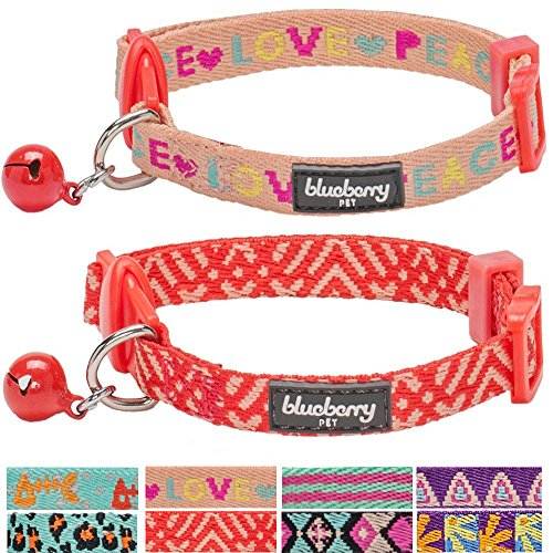 Blueberry Pet Pack of 2 Cat Collars, Love Peace Theme and Salmon Pink Geometry Adjustable Breakaway Cat Collar with Bell, Neck 9