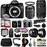 Canon EOS 70D DSLR SLR Digital Camera + 18-55mm STM + 75-300mm USM Lens + 128GB Memory + 2 Batteries + Charger + LED Video Light + Backpack + Case + Filters + Auxiliary Lenses + More