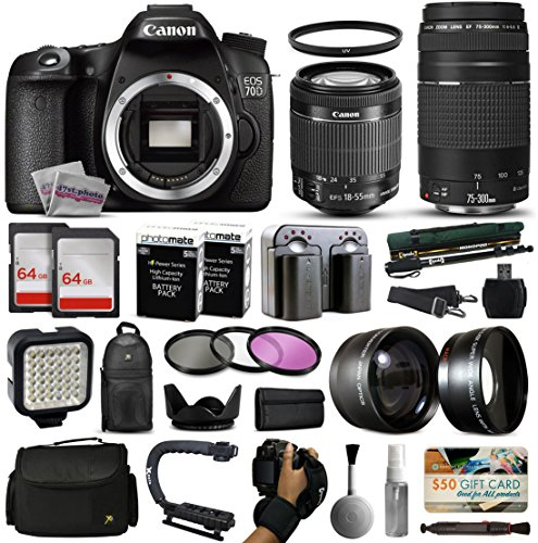 UPC 813789329657, Canon EOS 70D DSLR SLR Digital Camera + 18-55mm STM + 75-300mm USM Lens + 128GB Memory + 2 Batteries + Charger + LED Video Light + Backpack + Case + Filters + Auxiliary Lenses + More