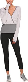 Elever Women Ballet Wrap Active Performance Hoodie Jacket With Thumb Hole Gray