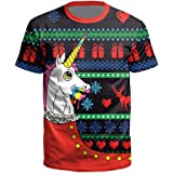 Men Women Short Sleeve T-Shirts Ugly Christmas Sweater 3D Novelty Print Casual Funny Graphic Tees for Xmas Party Gifts