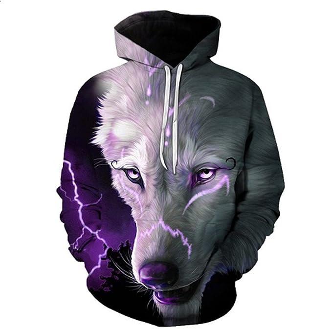Hombres Mujeres Sudaderas Sudaderas Wolf 3D Patrón animales divertidos Pritned Pullover Otoño Invierno encapuchado 6XL: Amazon.es: Ropa y accesorios