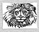 XHFITCLtd Lion Tapestry, Sketch Art of African Safari Animal King of the Jungle Savannah Wildlife, Wall Hanging for Bedroom Living Room Dorm, 80 W X 60 L Inches, Black White Pale Grey