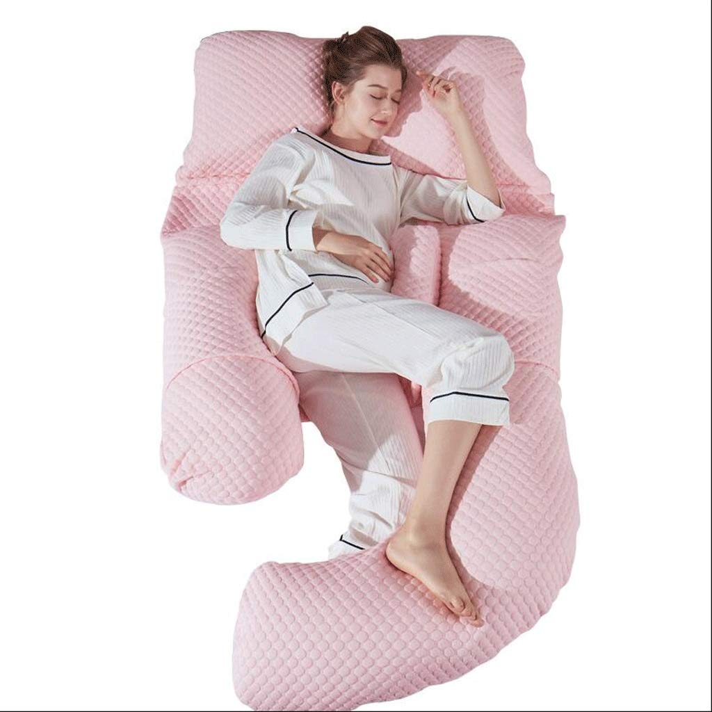 Waist Side Sleeping Pillow,Maternity Pregnancy Pillow,U Shape Full Body Back Bolster Support With Free Pillowcase Pink