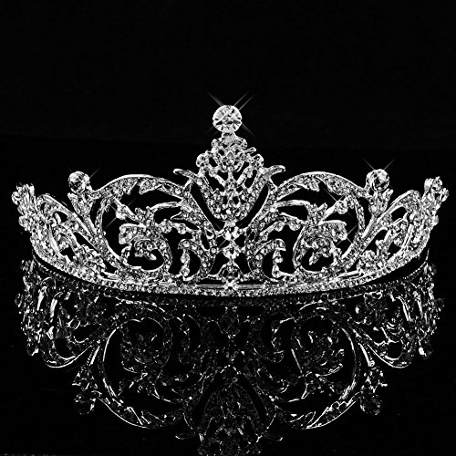 [Bienna Wedding Tiara Crown Sparkly Rhinestones Crystal Decor Bridal Princess Women Girls Headband Headpiece for Pageant Prom] (Beauty Pageant Queen Costume)