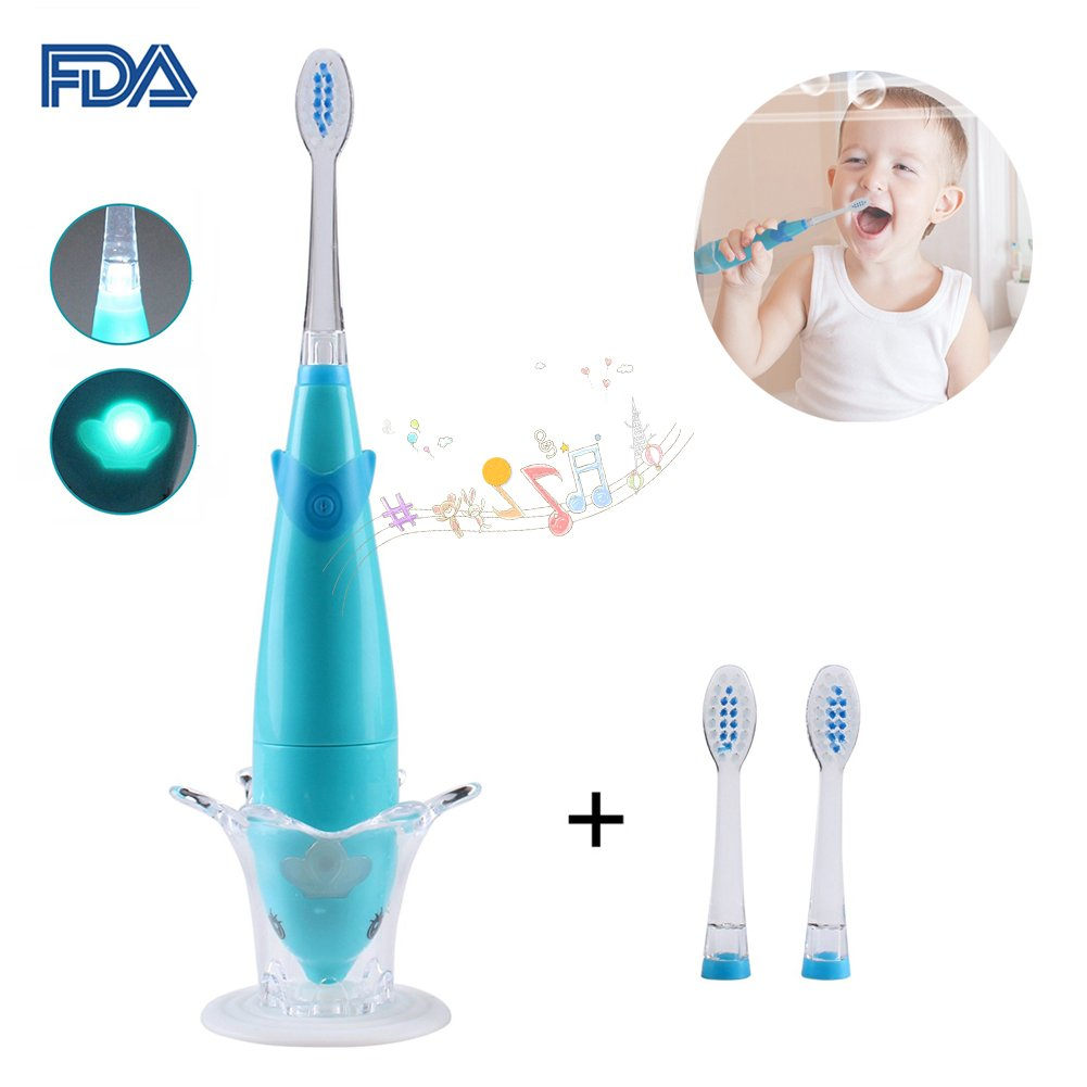 Sonic Electric Toothbrush, Dolphin Musical Kids Toothbrush with 7 Color LED Light & 2 Soft Bristle Brush Heads for Baby Toddler Children 3-5 Year Old