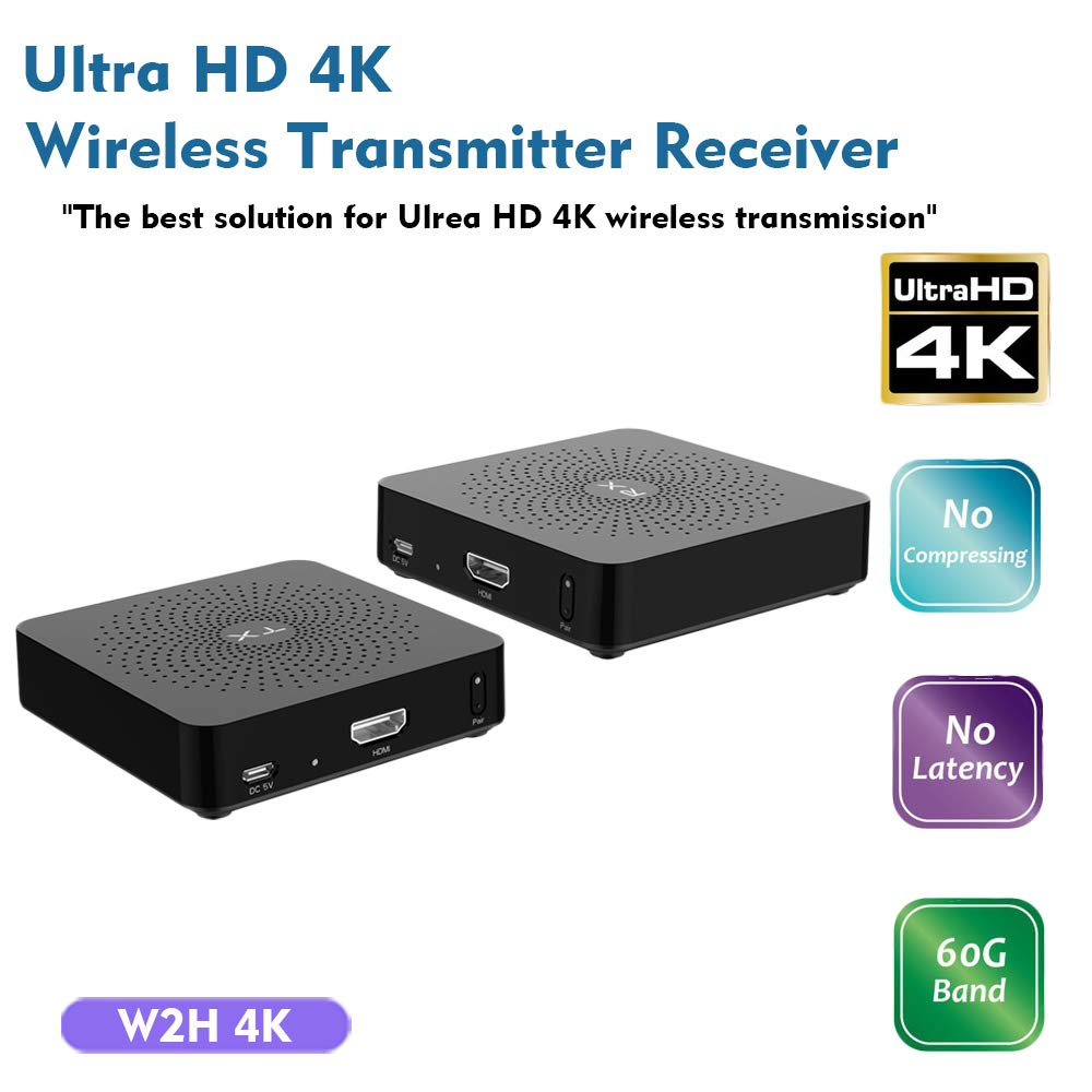measy W2H 4K 60GHz Wireless HDMI Transmitter Extender Receiver Zero Latency Transmission Supports Full HD 4K@30Hz 3D - Upto 30M/100FT