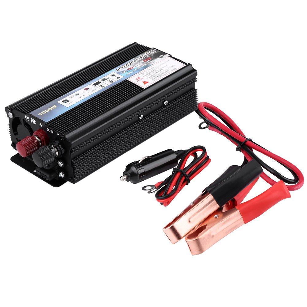 Convertisseur 220v 12v, Transformateur 12V 220V Convertisseur Onduleur Electrique 300W / 1000W / 2000W avec LCD Affichage Port USB Portable Transformateur de Tension de Voiture Chargeur (1000W)