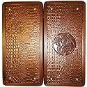 16` Lion Handmade Wooden Backgammon Set Board Game Crocodile Leather. Ukrainian